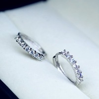 2013 925 pure silver single row of diamond fashion female earrings stud earring autumn