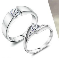 Free Shipping 925 pure silver ring lovers ring married 18k platinum ring Women diamond ring fashion jewelry engraving