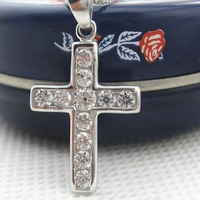 Free Shipping 925 pure silver 2013 Women crystal cross zircon 18k platinum pendant female accessories