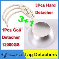 1pcs 12000GS Universal Golf Hard Tag Detacher +3pcs Handheld Detacher EAS Hard Tag Hook Security Detacher