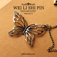 Sakura's Store N4002 fashion butterfly pendant, vintage cutout delicate butterfly necklace female