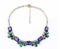 Fashion Antique High Quality Octogon Crystal Leaf design Necklace in Two Colors