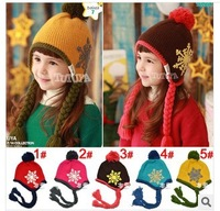Free shipping!Christmas snowflake earmuffs caps, wool knitting caps,children's hats(5 color) ,wholesale and retail