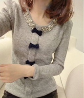 Free Shipping 2014 Hot Sale Autumn -summer Korean Women Long Sleeve Sweater Pullover Knitted Jumper Winter New Fashion 3 Colors
