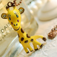 Sakura's Store N4013 Fashion cute long design Yellow oil stereo jungle giraffe deer necklace