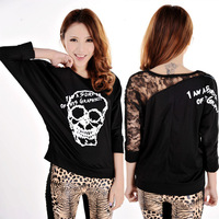 The bat sleeve skull T-shirt Cozy trendy women clothes Back lace Skull print Tops Tees W4304