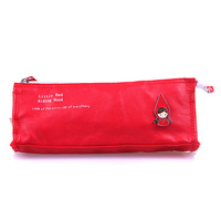 Hot Girl Pencil Cases Red Hat Girl Pattern 4 ColorsStorage Coin/Cosmetic/Mobile/Pen Cute Multifunctional PU Leather Pencil Bag