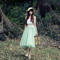 4 Colors Autumn Summer Fashion Women Spring Skirt 2014 New Style Ladies Mint Green Long Tutu Skirts Black White Pink