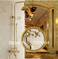 "Golden Bathroom Brass Shower Set 8"" Showerhead Adjust Height Swivel Bathtub Tap"