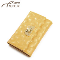 2013 women's wallet cowhide plaid rhinestone embroidery short design wallet card holder