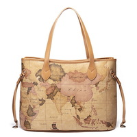 2013 women's handbag one shoulder women fashion vintage map pack laptop messenger bag
