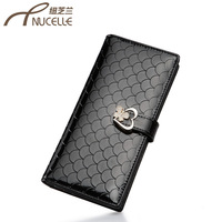 2013 day clutch genuine leather purses long design cowhide embossed lockbutton wallet
