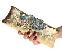 Factory New Style Women's Peacock Evening Clutch Bag/Purse Print Dot  Clutch Handbag Black/Gold/Silver Party/Dinner Purse 1802K