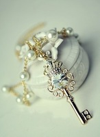 Sakura's Store +N4023 Fashion Crown Necklace, key pearl necklace zircon good quality sweater chain
