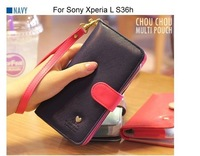 Contrast color wallet/Mobile phone bag PU leather case cover For Sony Xperia L S36h/Xperia ZL L35H/J ST26i/V LT25i