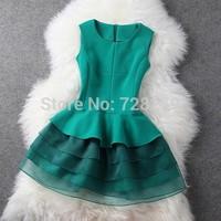 2014 New Women's Dress Sweep Organza layered dress slim elegant one-piece dress Winter Dresses Plus Size