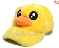 girls' hats Big yellow duck children new winter velvet baseball cap