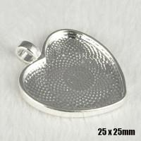 20 pcs Heart Shape Bright Silver Cabochon Base -Inside 25*25mm Charm Pendant Tray Cameo Base -Vintage Type Jewel Findings