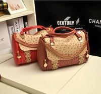 2013 Hot new Fashion Lady boston Designer Women Ostrich Leather Shoulder Bag Tote Hobo Purse Handbag Square Messenger Bag
