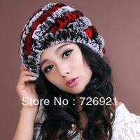 Sale New Real Knitted REX Rabbit Fur Hat Thick Wool Beanie Cap Ski Headgear Ladies Head Warmer Twill Style