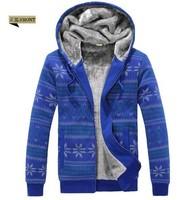 Xmas snowflake plus velvet warm winter mens hooded  personalized fashion lovers thick sweatshirt
