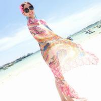 Fashion bikini swimwear ultralarge all-match mantillas gauze swimwear sunscreen beach towel yarn  for women brazilian