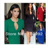 Women new European and American metal buckle sexy O-neck evening dress  Slim long-sleeved dresses,free shipping,plus size,5 size