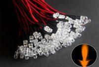 100pcs 24V 5mm Orange  Pre Wired Water clear led 20cm Bulbs Light Lamp