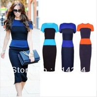 Hot models in Europe and America with Victoria hit color stitching Slim was thin short-sleeved striped dress A54