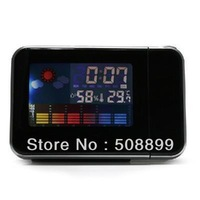 Freeshipping New 1pcs LED Light LCD Projection Digital Weather Thermometer Alarm Clock Snooze Station+Dropshipping