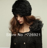Sale Lady Beanie Rex Rabbit Fur Hat Nature Knitted Cap Various Fashion Women Winter Headgear Headdress