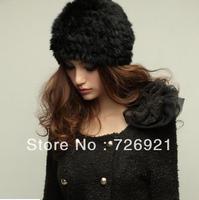 Sale Lady Beanie Rex Rabbit Fur Hat Nature Knitted Cap Various Fashion Women Winter Headgear Headdress