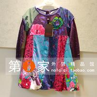 Catiminio limited edition 2013 autumn female child blue print long-sleeve dress