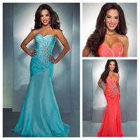 Free shipping2014 New Fashion Sweetheart Beadwork Open Back Prom Dresses Long Chiffon Mermaid New Arrival
