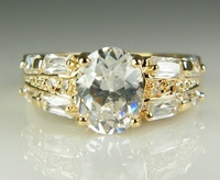 Pretty 9K Solid Yellow Gold Filled White Sappire Ring for Women, Main Stone 9.5*7.5mm, Enagement Jewelry Gift, Size 7.5, P103
