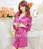 SEXY Lady Lingerie Sleepwear BATH ROBE Kimono Dress G-string panty Kit Free Shipping