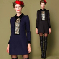 2013 plus size one-piece dress plus size clothing mm one-piece dress slim autumn and winter one-piece dress