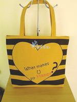 2014 Sell like hot cakes  Horizontal stripe print canvas bag eco-friendly bag casual shoulder bag Free shipping