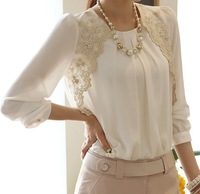 New 2013 embroidery long-sleeved chiffon shirt lace blouse lady bottoming T-shirt casual Women's clothing leisure 4 Sizes