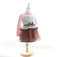 wholesale 2014 Spring lace dress girls one piece for children longsleeve floral tutu dress 2colors for spring/autumn