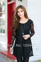 new 2014 spring brand sprint autumn Hitz women's sexy elegant hollow dress fine lace loose skirt retail wholesale free ship