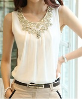 New 2014 fashion fashion blouse new sleeveless vest harness bottoming shirt fold White Chiffon Shirt Short Sleeved