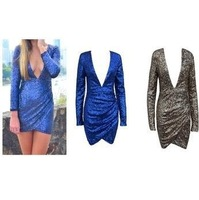 free shIpping .Fashion major front deep V sexy dress long sleeve bodycon party dress FT005