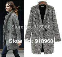 sobretudos femininos 2014 women coats winter Fashion Swallow gird pattern winter women wool coat,thick woolen liner tweed jacket
