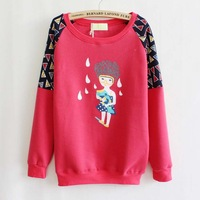 2013 Autumn Winter New Fashion Casual Cartoon Print Pullover Sweatshirts Women Top T Shirts Red Grey Wholesale Free Shipping
