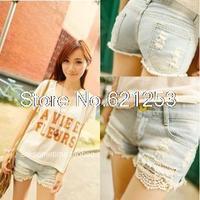 Summer Lace Trimming Women Denim Shorts Hole Short Hot Pants Ripped Jeans Femininos 1030