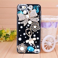 Free shipping 2014 Resin Ballet gill diamond bow knot case for iPhone 4 case for iPhone 4s Mobile Border Protection phone shell