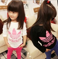 T0,free shipping spring 2014 100% cotton children long sleeve t-shirt fashion girl t shirt brand kids wear wholesale and retail