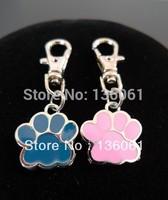 Fashion Vintage Silvers PINK BLUE  ENAMEL DOG CAT PAW PRINT ANIMAL  Lobster Swivel Clasp Key Chain Ring Accessories  20PCS  P356