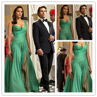 Free shippingSexy Floor Length Side Slit One Shoulder Ruffles Celebrity Dress Red Carpet Gown 2014 New Arrival